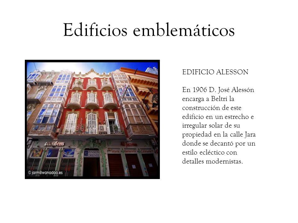 Edificios emblemáticos CASAS DE LOS CATALANES En 1907 el Banco de Préstamos y Descuentos de Barcelona encarga a Beltrí la construcción de dos edificios en la calle Ángel Bruna.