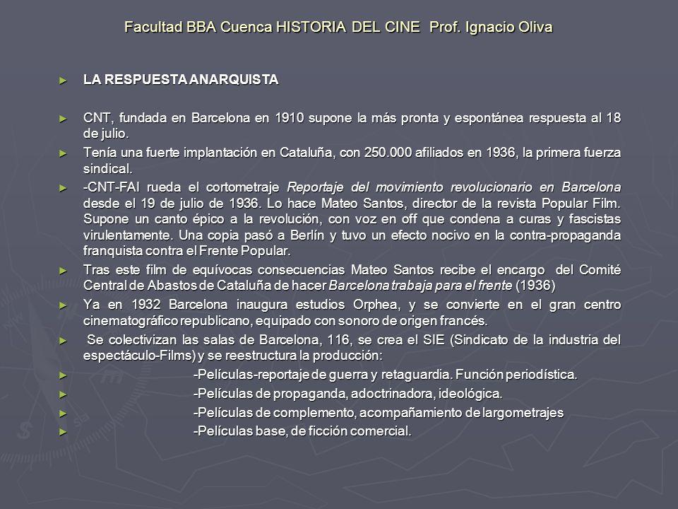 Facultad BBA Cuenca HISTORIA DEL CINE Prof. Ignacio Oliva LA RESPUESTA ANARQUISTA LA RESPUESTA ANARQUISTA CNT, fundada en Barcelona en 1910 supone la