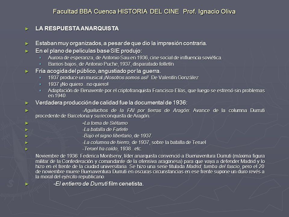 Facultad BBA Cuenca HISTORIA DEL CINE Prof. Ignacio Oliva LA RESPUESTA ANARQUISTA LA RESPUESTA ANARQUISTA Estaban muy organizados, a pesar de que dio