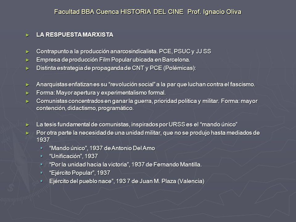 Facultad BBA Cuenca HISTORIA DEL CINE Prof. Ignacio Oliva LA RESPUESTA MARXISTA LA RESPUESTA MARXISTA Contrapunto a la producción anarcosindicalista.