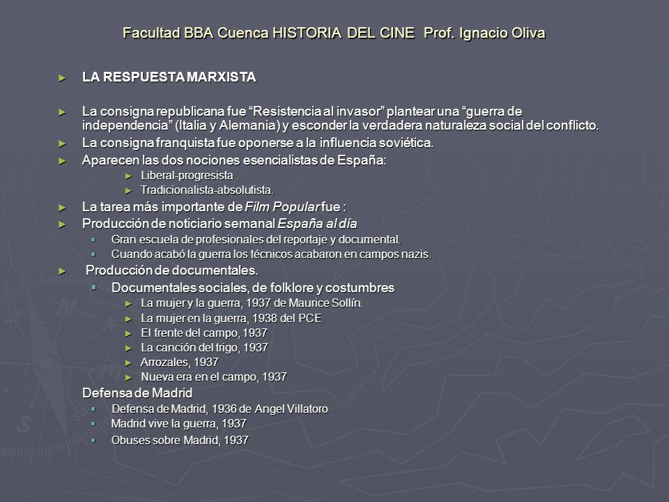 Facultad BBA Cuenca HISTORIA DEL CINE Prof.