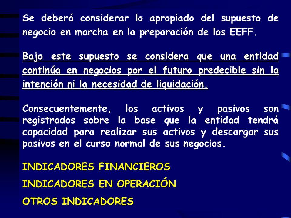 100 Se deberá considerar lo apropiado del supuesto de negocio en marcha en la preparación de los EEFF.