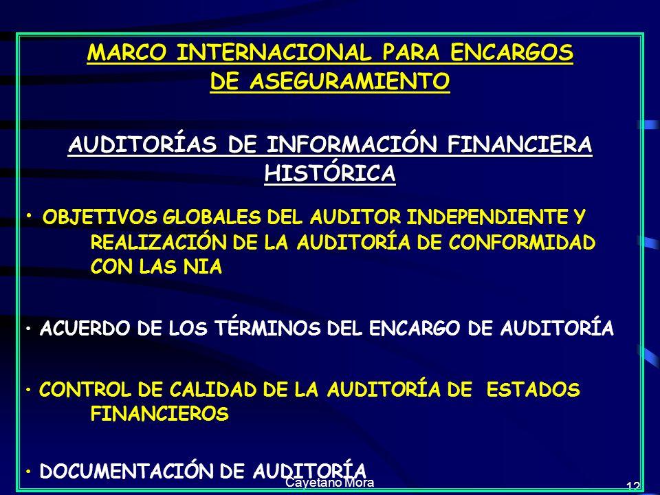 Cayetano Mora 12 MARCO INTERNACIONAL PARA ENCARGOS DE ASEGURAMIENTO AUDITORÍAS DE INFORMACIÓN FINANCIERA HISTÓRICA OBJETIVOS GLOBALES DEL AUDITOR INDEPENDIENTE Y REALIZACIÓN DE LA AUDITORÍA DE CONFORMIDAD CON LAS NIA ACUERDO DE LOS TÉRMINOS DEL ENCARGO DE AUDITORÍA CONTROL DE CALIDAD DE LA AUDITORÍA DE ESTADOS FINANCIEROS DOCUMENTACIÓN DE AUDITORÍA