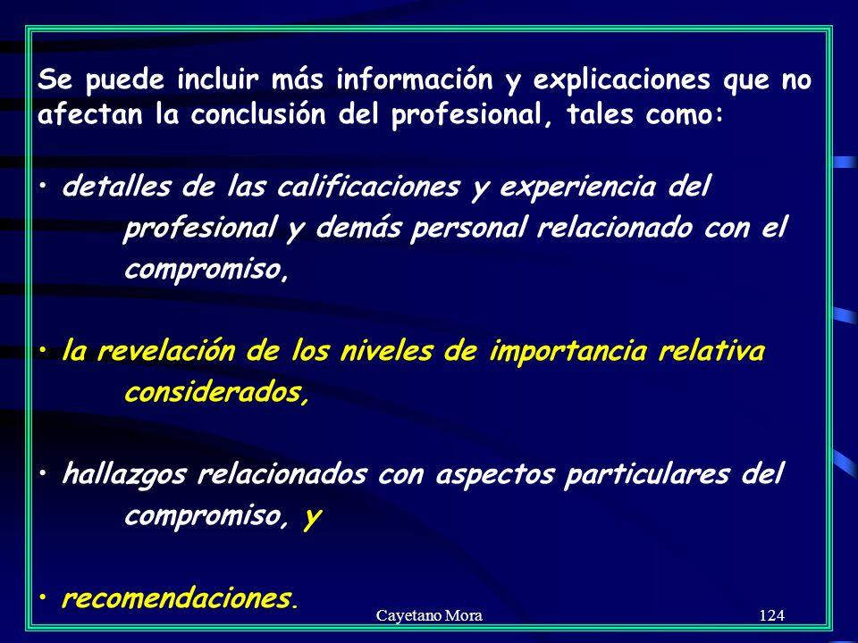 Cayetano Mora124 Se puede incluir más información y explicaciones que no afectan la conclusión del profesional, tales como: detalles de las calificaciones y experiencia del profesional y demás personal relacionado con el compromiso, la revelación de los niveles de importancia relativa considerados, hallazgos relacionados con aspectos particulares del compromiso, y recomendaciones.