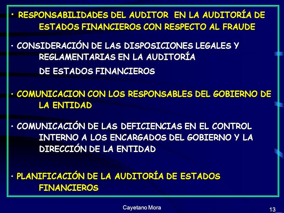 Cayetano Mora 13 RESPONSABILIDADES DEL AUDITOR EN LA AUDITORÍA DE ESTADOS FINANCIEROS CON RESPECTO AL FRAUDE RESPONSABILIDADES DEL AUDITOR EN LA AUDITORÍA DE ESTADOS FINANCIEROS CON RESPECTO AL FRAUDE CONSIDERACIÓN DE LAS DISPOSICIONES LEGALES Y REGLAMENTARIAS EN LA AUDITORÍA CONSIDERACIÓN DE LAS DISPOSICIONES LEGALES Y REGLAMENTARIAS EN LA AUDITORÍA DE ESTADOS FINANCIEROS COMUNICACION CON LOS RESPONSABLES DEL GOBIERNO DE LA ENTIDAD COMUNICACION CON LOS RESPONSABLES DEL GOBIERNO DE LA ENTIDAD COMUNICACIÓN DE LAS DEFICIENCIAS EN EL CONTROL INTERNO A LOS ENCARGADOS DEL GOBIERNO Y LA DIRECCIÓN DE LA ENTIDAD COMUNICACIÓN DE LAS DEFICIENCIAS EN EL CONTROL INTERNO A LOS ENCARGADOS DEL GOBIERNO Y LA DIRECCIÓN DE LA ENTIDAD PLANIFICACIÓN DE LA AUDITORÍA DE ESTADOS FINANCIEROS PLANIFICACIÓN DE LA AUDITORÍA DE ESTADOS FINANCIEROS