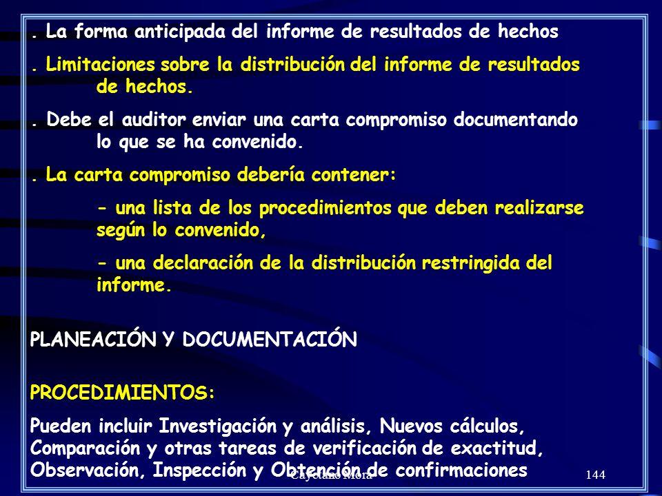 Cayetano Mora144.La forma anticipada del informe de resultados de hechos.