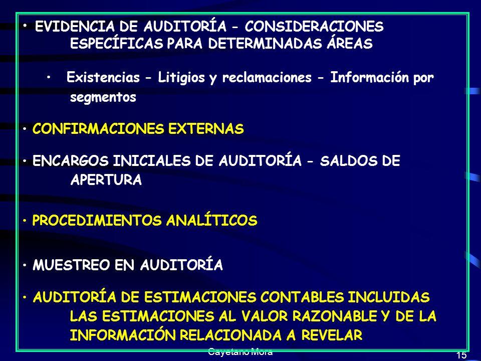 Cayetano Mora 15 EVIDENCIA DE AUDITORÍA - CONSIDERACIONES ESPECÍFICAS PARA DETERMINADAS ÁREAS Existencias - Litigios y reclamaciones - Información por segmentos CONFIRMACIONES EXTERNAS ENCARGOS INICIALES DE AUDITORÍA - SALDOS DE APERTURA PROCEDIMIENTOS ANALÍTICOS MUESTREO EN AUDITORÍA AUDITORÍA DE ESTIMACIONES CONTABLES INCLUIDAS LAS ESTIMACIONES AL VALOR RAZONABLE Y DE LA INFORMACIÓN RELACIONADA A REVELAR