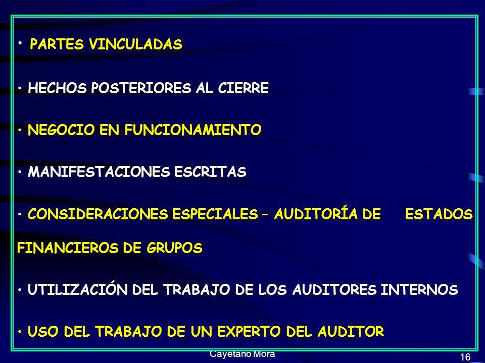 Cayetano Mora 16 PARTES VINCULADAS PARTES VINCULADAS HECHOS POSTERIORES AL CIERRE HECHOS POSTERIORES AL CIERRE NEGOCIO EN FUNCIONAMIENTO NEGOCIO EN FUNCIONAMIENTO MANIFESTACIONES ESCRITAS MANIFESTACIONES ESCRITAS CONSIDERACIONES ESPECIALES – AUDITORÍA DE ESTADOS FINANCIEROS DE GRUPOS CONSIDERACIONES ESPECIALES – AUDITORÍA DE ESTADOS FINANCIEROS DE GRUPOS UTILIZACIÓN DEL TRABAJO DE LOS AUDITORES INTERNOS UTILIZACIÓN DEL TRABAJO DE LOS AUDITORES INTERNOS USO DEL TRABAJO DE UN EXPERTO DEL AUDITOR USO DEL TRABAJO DE UN EXPERTO DEL AUDITOR