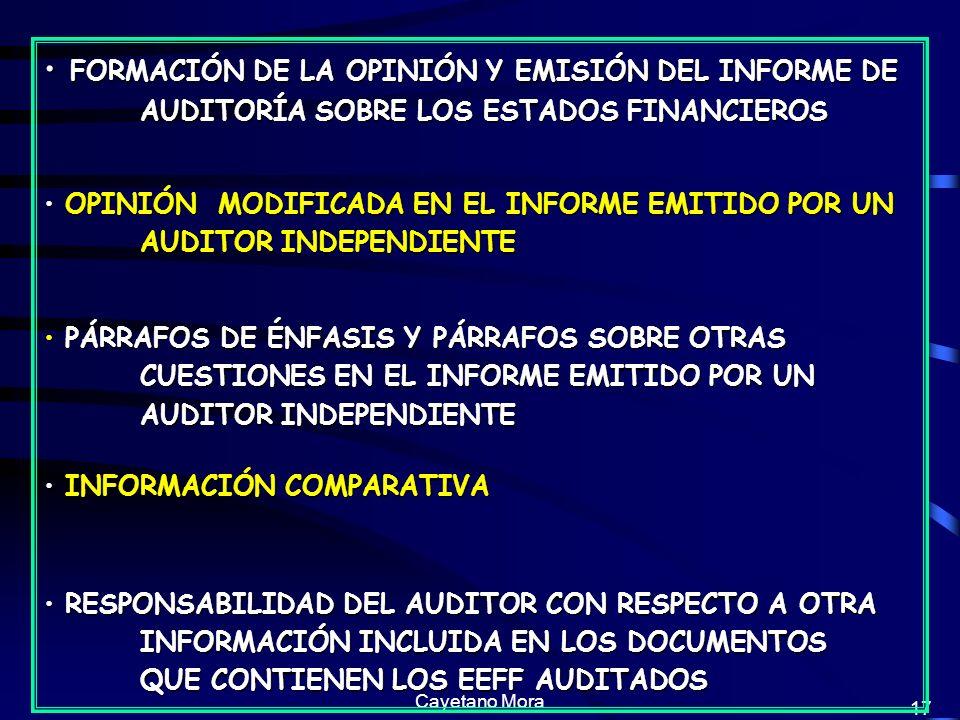 Cayetano Mora 17 FORMACIÓN DE LA OPINIÓN Y EMISIÓN DEL INFORME DE AUDITORÍA SOBRE LOS ESTADOS FINANCIEROS FORMACIÓN DE LA OPINIÓN Y EMISIÓN DEL INFORME DE AUDITORÍA SOBRE LOS ESTADOS FINANCIEROS OPINIÓN MODIFICADA EN EL INFORME EMITIDO POR UN AUDITOR INDEPENDIENTE OPINIÓN MODIFICADA EN EL INFORME EMITIDO POR UN AUDITOR INDEPENDIENTE PÁRRAFOS DE ÉNFASIS Y PÁRRAFOS SOBRE OTRAS CUESTIONES EN EL INFORME EMITIDO POR UN AUDITOR INDEPENDIENTE PÁRRAFOS DE ÉNFASIS Y PÁRRAFOS SOBRE OTRAS CUESTIONES EN EL INFORME EMITIDO POR UN AUDITOR INDEPENDIENTE INFORMACIÓN COMPARATIVA INFORMACIÓN COMPARATIVA RESPONSABILIDAD DEL AUDITOR CON RESPECTO A OTRA INFORMACIÓN INCLUIDA EN LOS DOCUMENTOS QUE CONTIENEN LOS EEFF AUDITADOS RESPONSABILIDAD DEL AUDITOR CON RESPECTO A OTRA INFORMACIÓN INCLUIDA EN LOS DOCUMENTOS QUE CONTIENEN LOS EEFF AUDITADOS