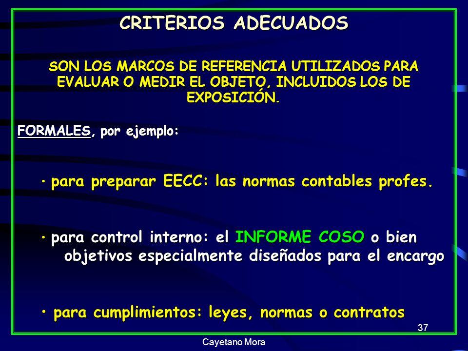 Cayetano Mora 37 CRITERIOS ADECUADOS SON LOS MARCOS DE REFERENCIA UTILIZADOS PARA EVALUAR O MEDIR EL OBJETO, INCLUIDOS LOS DE EXPOSICIÓN.