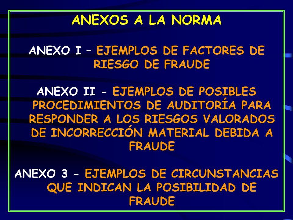 ANEXOS A LA NORMA ANEXO I – EJEMPLOS DE FACTORES DE RIESGO DE FRAUDE ANEXO II - EJEMPLOS DE POSIBLES PROCEDIMIENTOS DE AUDITORÍA PARA RESPONDER A LOS RIESGOS VALORADOS DE INCORRECCIÓN MATERIAL DEBIDA A FRAUDE ANEXO 3 - EJEMPLOS DE CIRCUNSTANCIAS QUE INDICAN LA POSIBILIDAD DE FRAUDE