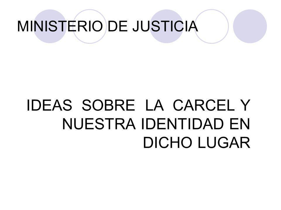 MINISTERIO DE JUSTICIA IDEAS SOBRE LA CARCEL Y NUESTRA IDENTIDAD EN DICHO LUGAR