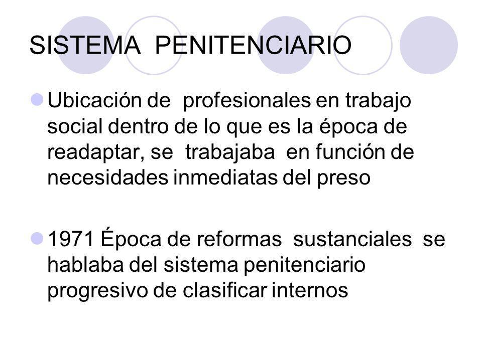SISTEMA PENITENCIARIO Ubicación de profesionales en trabajo social dentro de lo que es la época de readaptar, se trabajaba en función de necesidades i