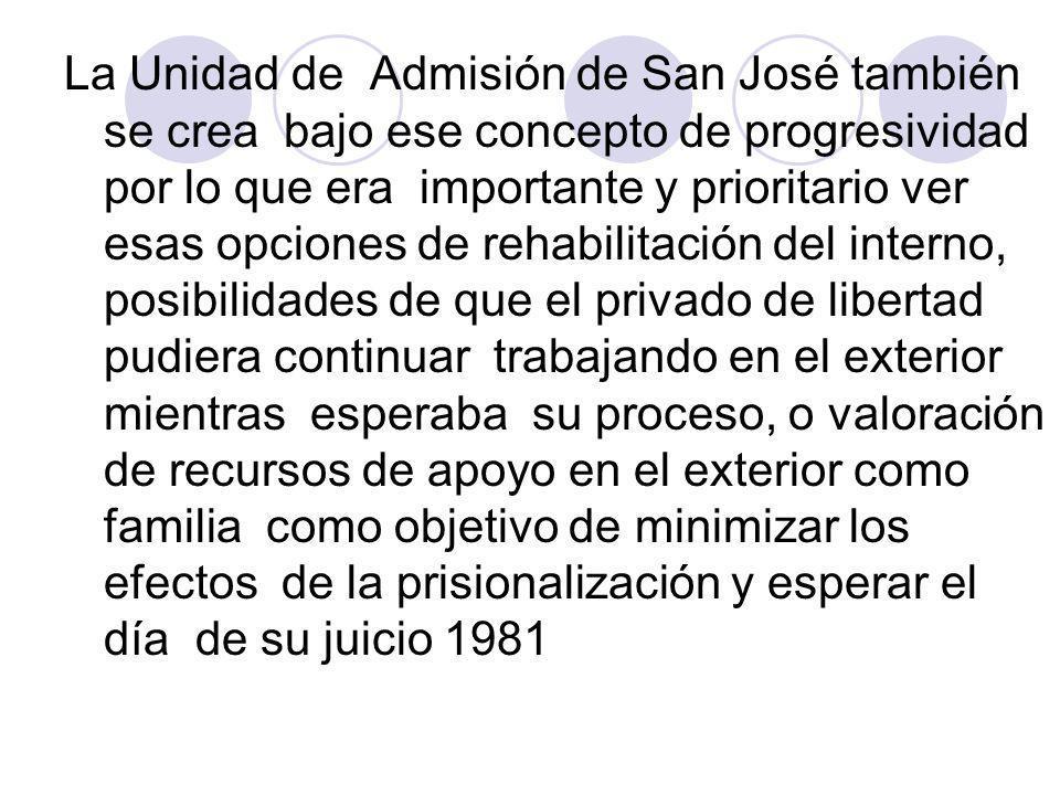 La Unidad de Admisión de San José también se crea bajo ese concepto de progresividad por lo que era importante y prioritario ver esas opciones de reha