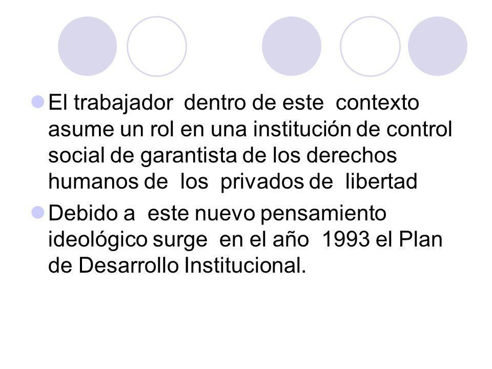 El trabajador dentro de este contexto asume un rol en una institución de control social de garantista de los derechos humanos de los privados de liber
