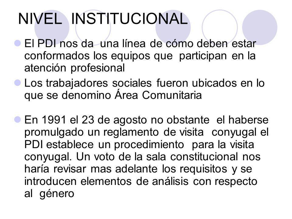 NIVEL INSTITUCIONAL El PDI nos da una línea de cómo deben estar conformados los equipos que participan en la atención profesional Los trabajadores soc