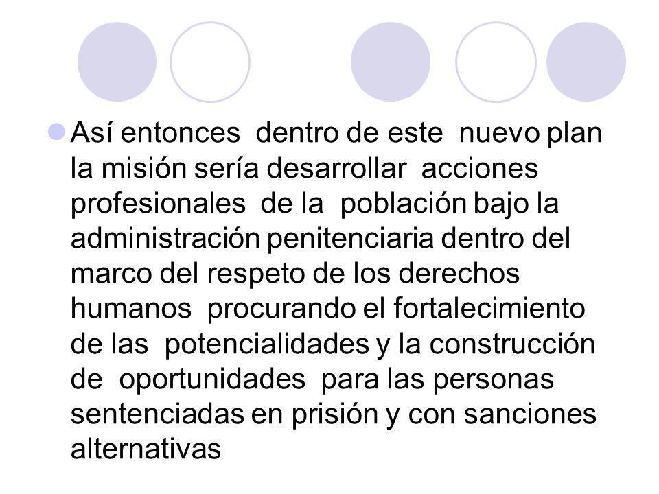 Así entonces dentro de este nuevo plan la misión sería desarrollar acciones profesionales de la población bajo la administración penitenciaria dentro