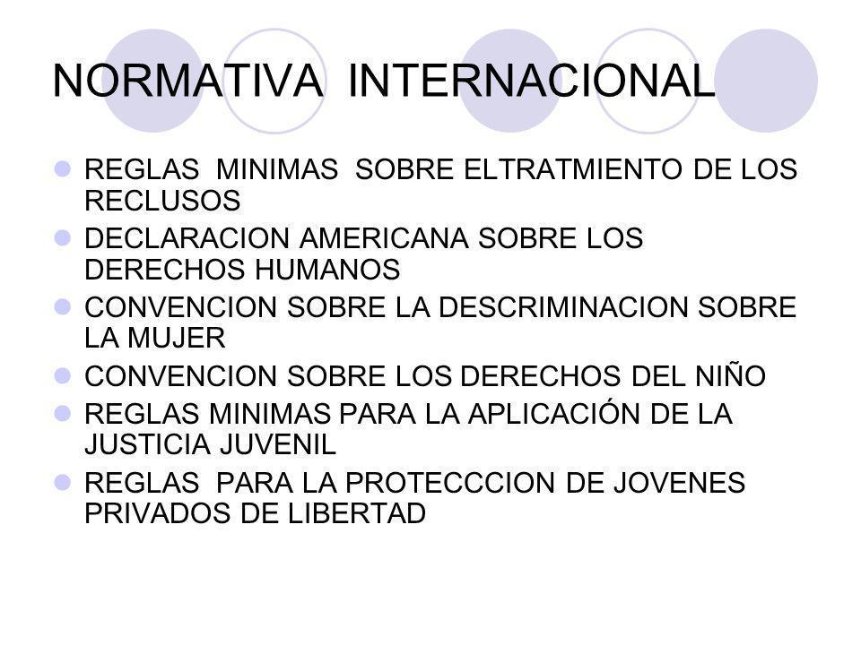 NORMATIVA INTERNACIONAL REGLAS MINIMAS SOBRE ELTRATMIENTO DE LOS RECLUSOS DECLARACION AMERICANA SOBRE LOS DERECHOS HUMANOS CONVENCION SOBRE LA DESCRIM