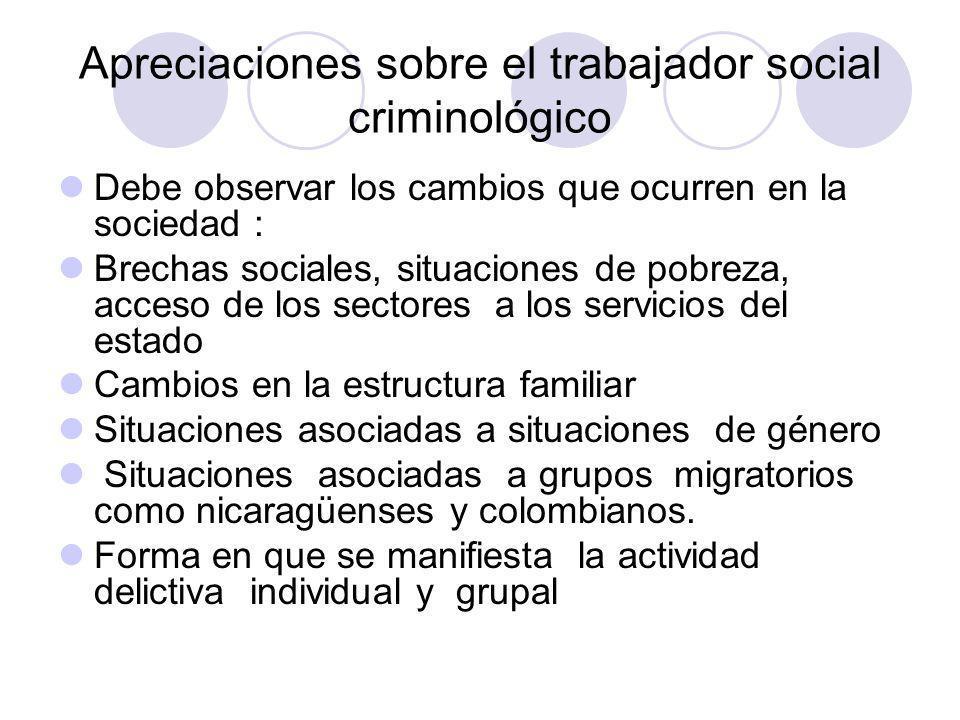 Apreciaciones sobre el trabajador social criminológico Debe observar los cambios que ocurren en la sociedad : Brechas sociales, situaciones de pobreza