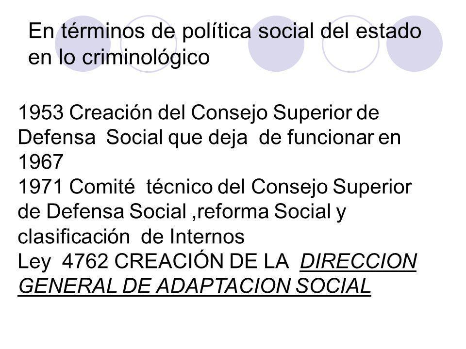 En términos de política social del estado en lo criminológico 1953 Creación del Consejo Superior de Defensa Social que deja de funcionar en 1967 1971