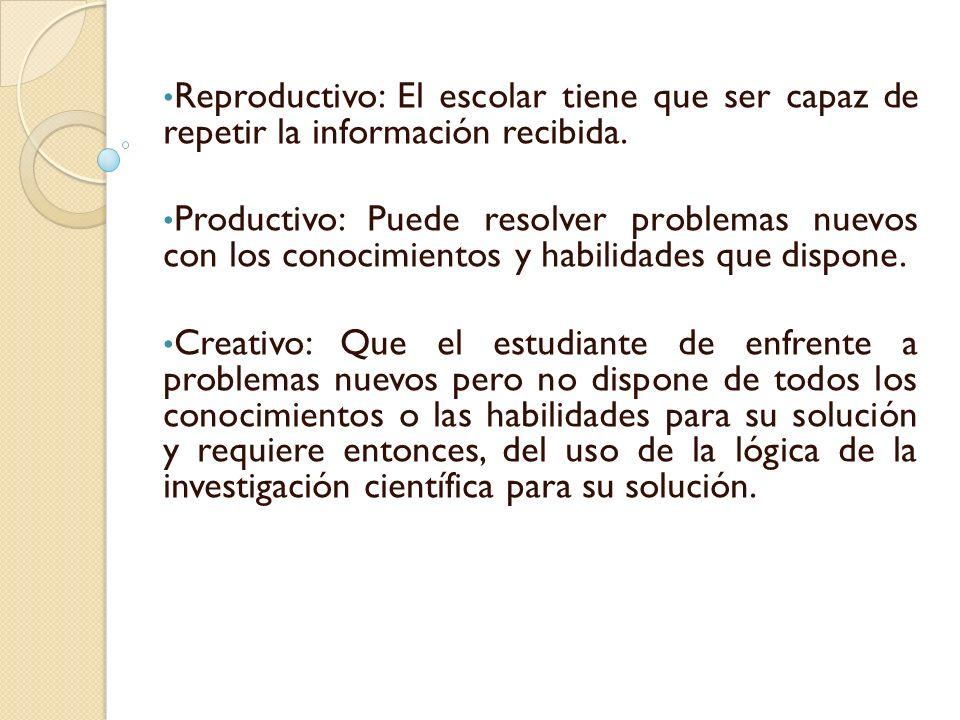 Reproductivo: El escolar tiene que ser capaz de repetir la información recibida. Productivo: Puede resolver problemas nuevos con los conocimientos y h