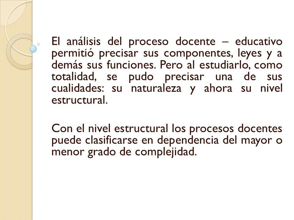 El análisis del proceso docente – educativo permitió precisar sus componentes, leyes y a demás sus funciones. Pero al estudiarlo, como totalidad, se p