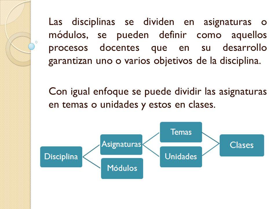 Las disciplinas se dividen en asignaturas o módulos, se pueden definir como aquellos procesos docentes que en su desarrollo garantizan uno o varios ob
