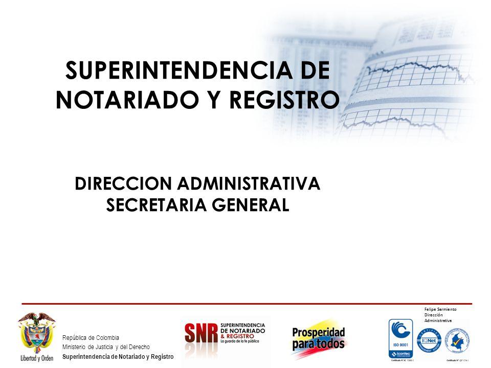 República de Colombia Ministerio de Justicia y del Derecho Superintendencia de Notariado y Registro SUPERINTENDENCIA DE NOTARIADO Y REGISTRO DIRECCION