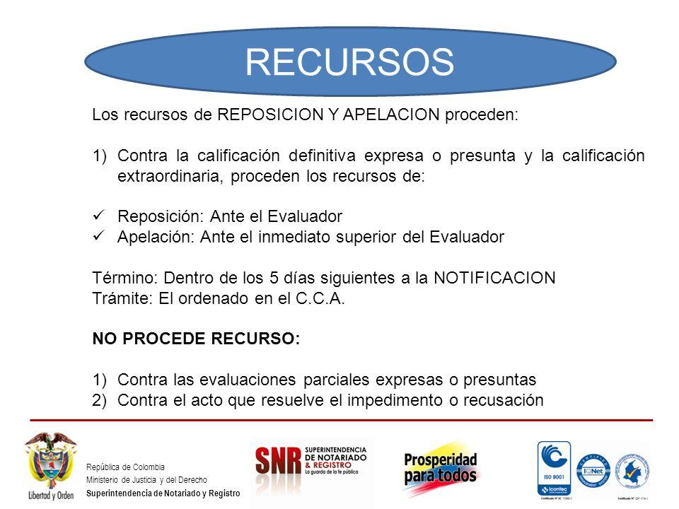 República de Colombia Ministerio de Justicia y del Derecho Superintendencia de Notariado y Registro Los recursos de REPOSICION Y APELACION proceden: 1