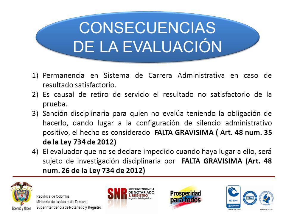 República de Colombia Ministerio de Justicia y del Derecho Superintendencia de Notariado y Registro CONSECUENCIAS DE LA EVALUACIÓN 1)Permanencia en Si