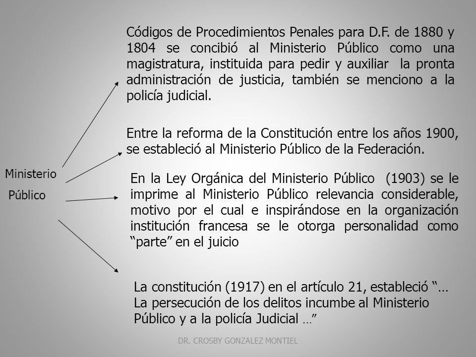 Ministerio Publico En la Constitución Política (1857) continua con la forma anterior, aunque en el proyecto, considera al Ministerio Público, Representante de la Sociedad.