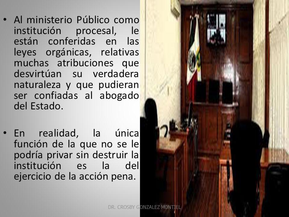 Es el cuerpo de funcionarios que tienen como actividad característica, aunque no única, la de promover el ejercicio de jurisdicción, en los casos preestablecidos, personificando el interés público existente en el cumplimiento de esta función estatal (Rafael de Pina) DR.