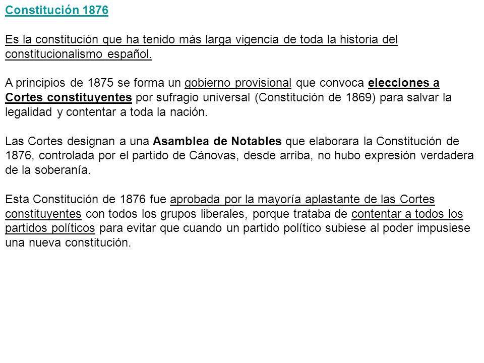 Constitución 1876 Es la constitución que ha tenido más larga vigencia de toda la historia del constitucionalismo español. A principios de 1875 se form