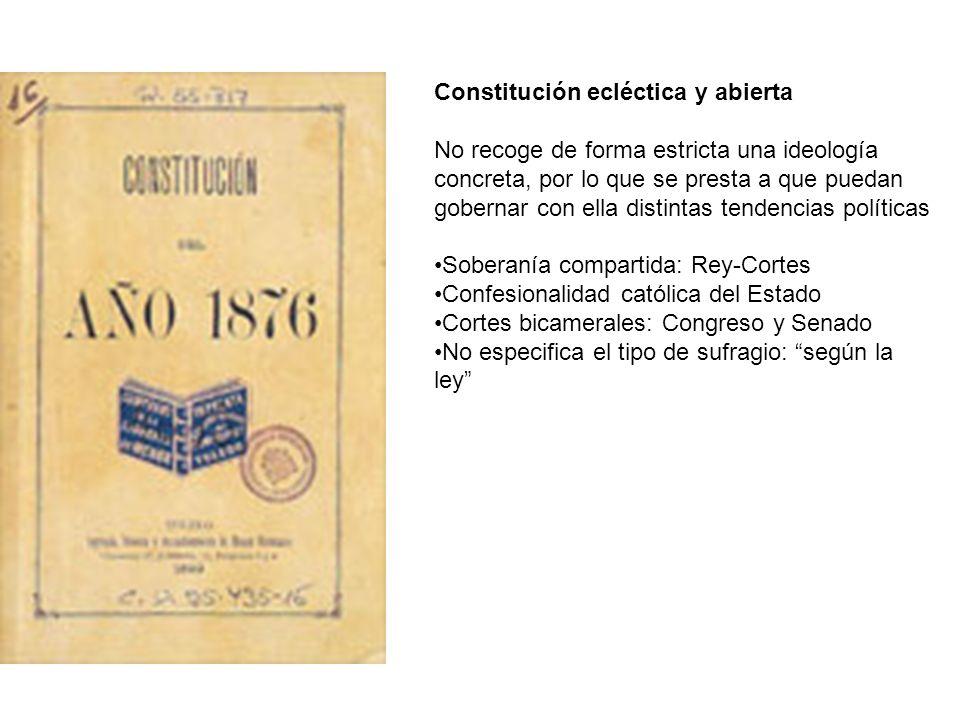 Constitución ecléctica y abierta No recoge de forma estricta una ideología concreta, por lo que se presta a que puedan gobernar con ella distintas ten