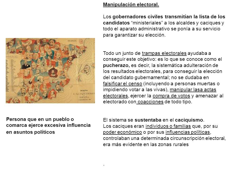 Manipulación electoral. Los gobernadores civiles transmitían la lista de los candidatos ministeriales a los alcaldes y caciques y todo el aparato admi