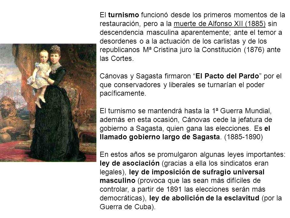 El turnismo funcionó desde los primeros momentos de la restauración, pero a la muerte de Alfonso XII (1885) sin descendencia masculina aparentemente;