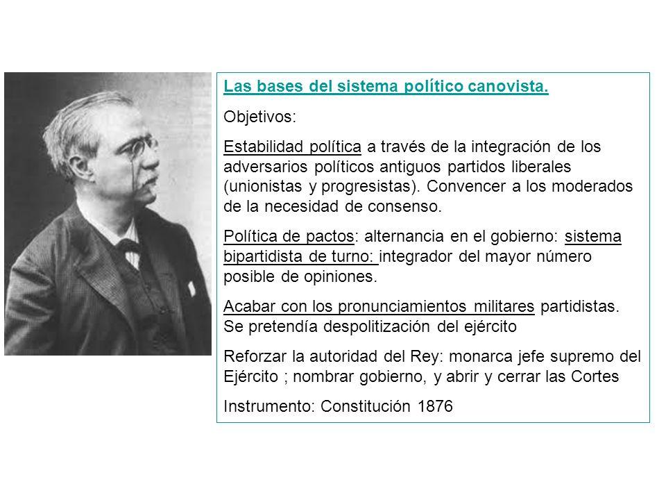 Las bases del sistema político canovista. Objetivos: Estabilidad política a través de la integración de los adversarios políticos antiguos partidos li