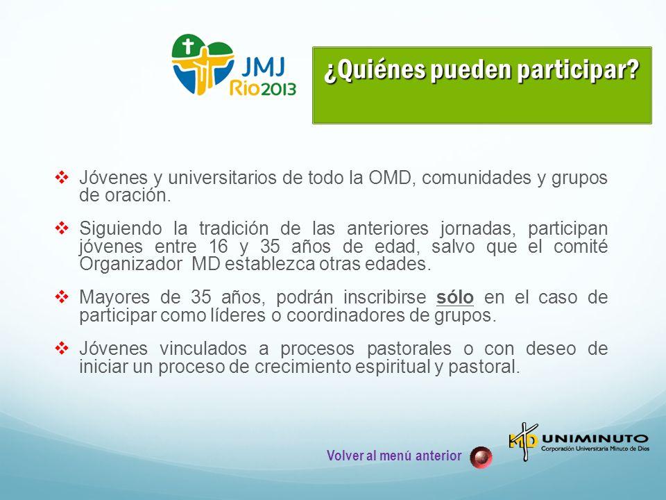 Jóvenes y universitarios de todo la OMD, comunidades y grupos de oración.