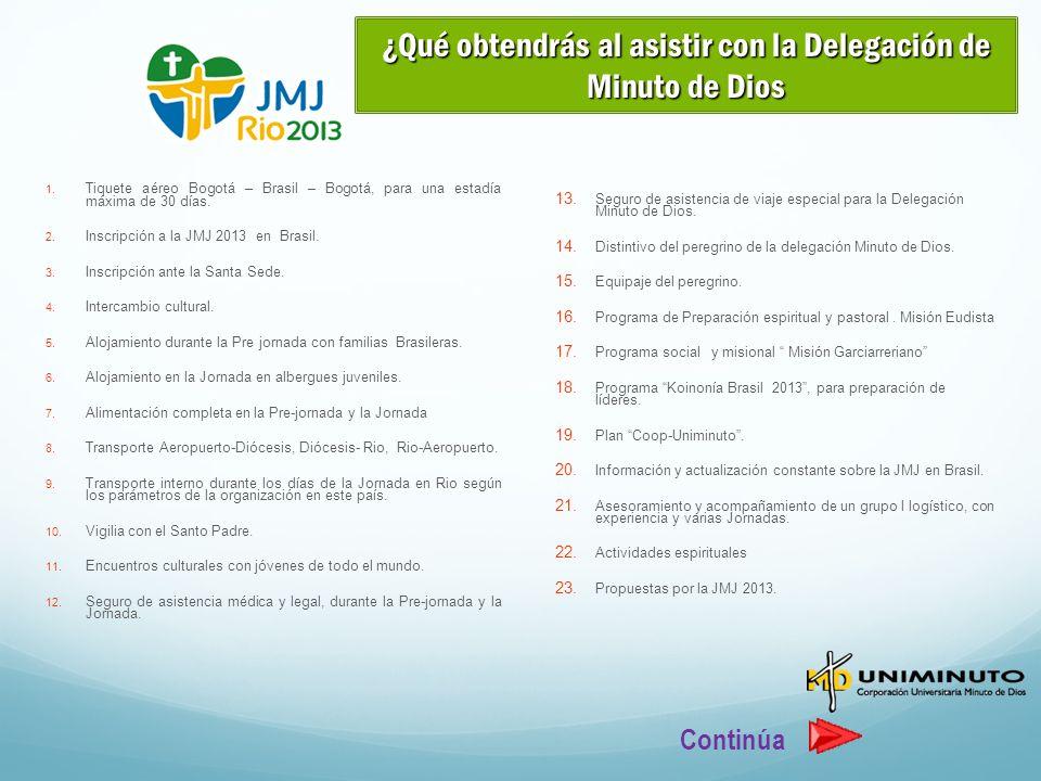 1. Tiquete aéreo Bogotá – Brasil – Bogotá, para una estadía máxima de 30 días. 2. Inscripción a la JMJ 2013 en Brasil. 3. Inscripción ante la Santa Se