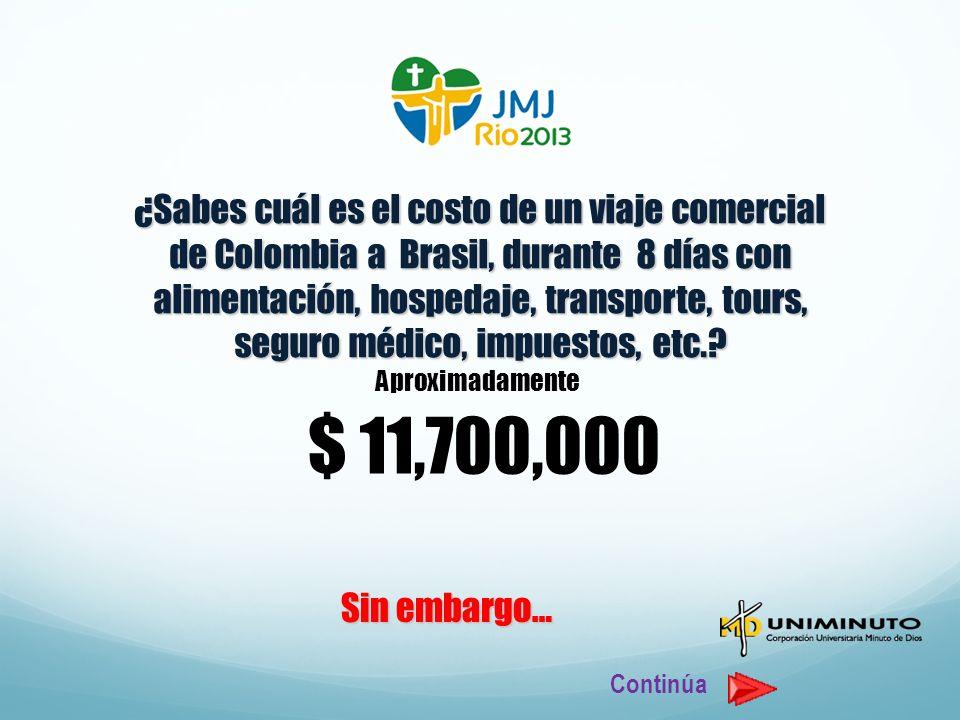 Aproximadamente $ 11,700,000 Sin embargo… Continúa ¿Sabes cuál es el costo de un viaje comercial de Colombia a Brasil, durante 8 días con alimentación, hospedaje, transporte, tours, seguro médico, impuestos, etc.?