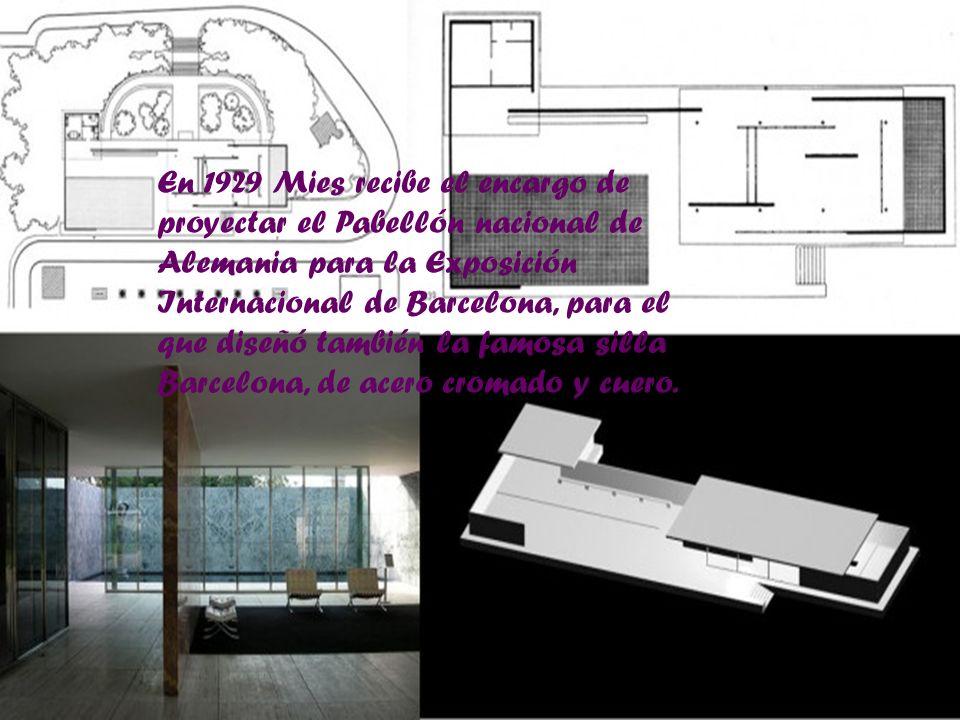En 1929 Mies recibe el encargo de proyectar el Pabellón nacional de Alemania para la Exposición Internacional de Barcelona, para el que diseñó también