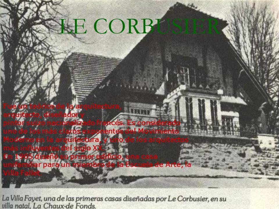 LE CORBUSIER Fue un teórico de la arquitectura, arquitecto, diseñador y pintor suizo nacionalizado francés. Es considerado uno de los más claros expon