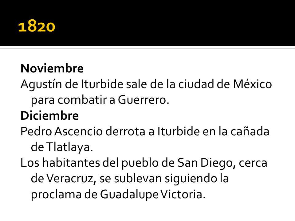 Noviembre Agustín de Iturbide sale de la ciudad de México para combatir a Guerrero. Diciembre Pedro Ascencio derrota a Iturbide en la cañada de Tlatla