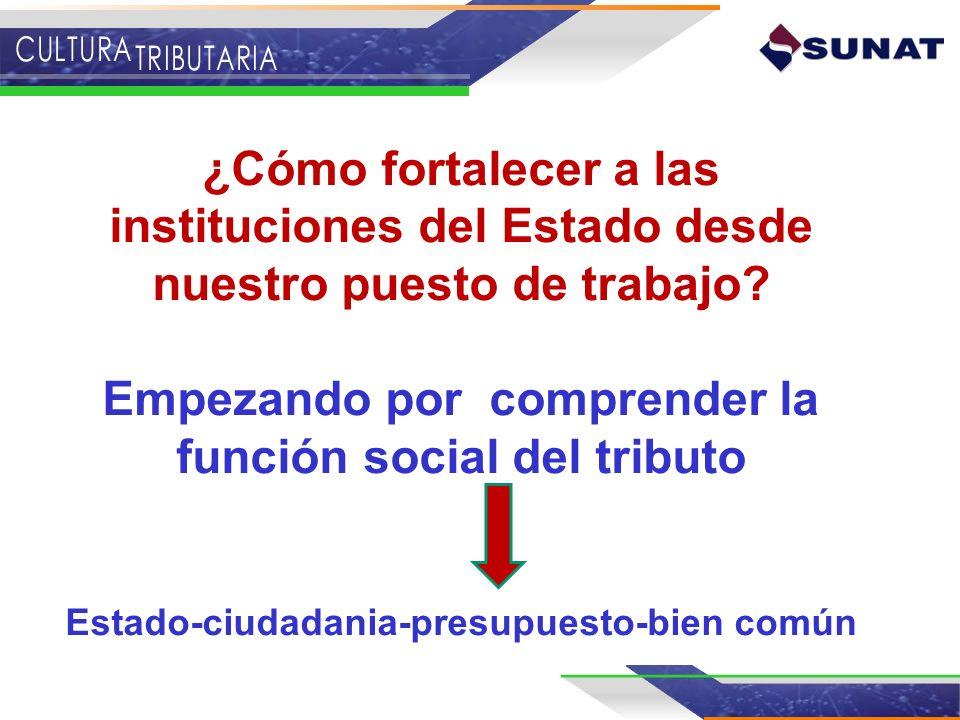 ¿Cómo fortalecer a las instituciones del Estado desde nuestro puesto de trabajo? Empezando por comprender la función social del tributo Estado-ciudada