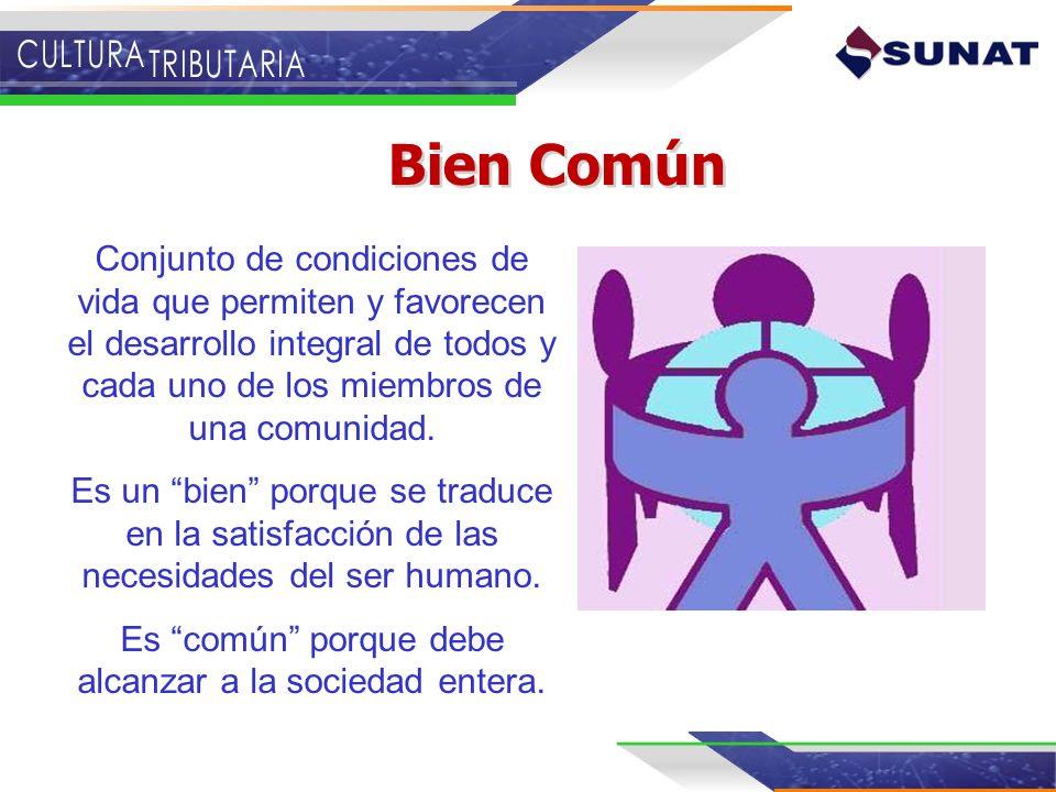 Bien Común Conjunto de condiciones de vida que permiten y favorecen el desarrollo integral de todos y cada uno de los miembros de una comunidad. Es un