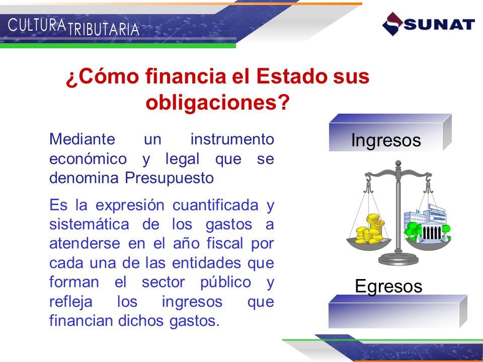 ¿Cómo financia el Estado sus obligaciones? Mediante un instrumento económico y legal que se denomina Presupuesto Es la expresión cuantificada y sistem