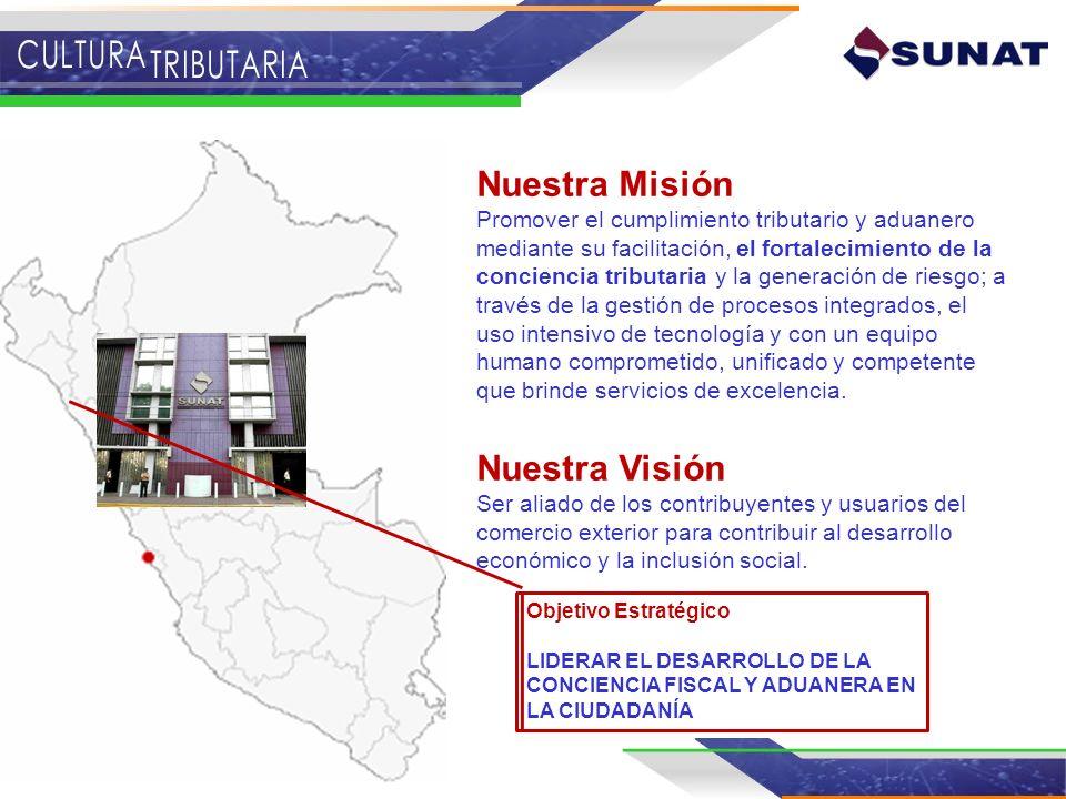 Nuestra Misión Promover el cumplimiento tributario y aduanero mediante su facilitación, el fortalecimiento de la conciencia tributaria y la generación