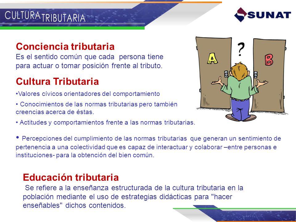 Educación tributaria Se refiere a la enseñanza estructurada de la cultura tributaria en la población mediante el uso de estrategias didácticas para
