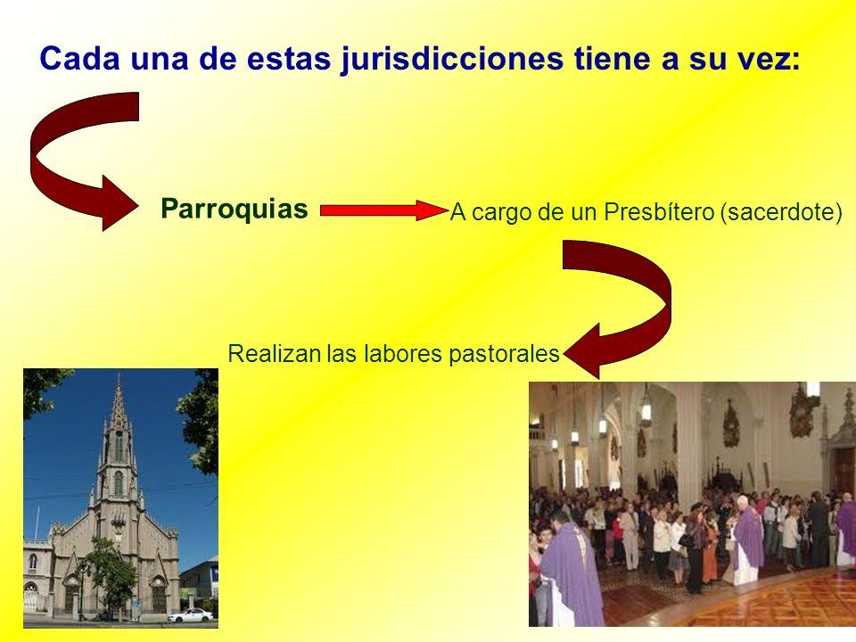 Cada una de estas jurisdicciones tiene a su vez: Parroquias A cargo de un Presbítero (sacerdote) Realizan las labores pastorales
