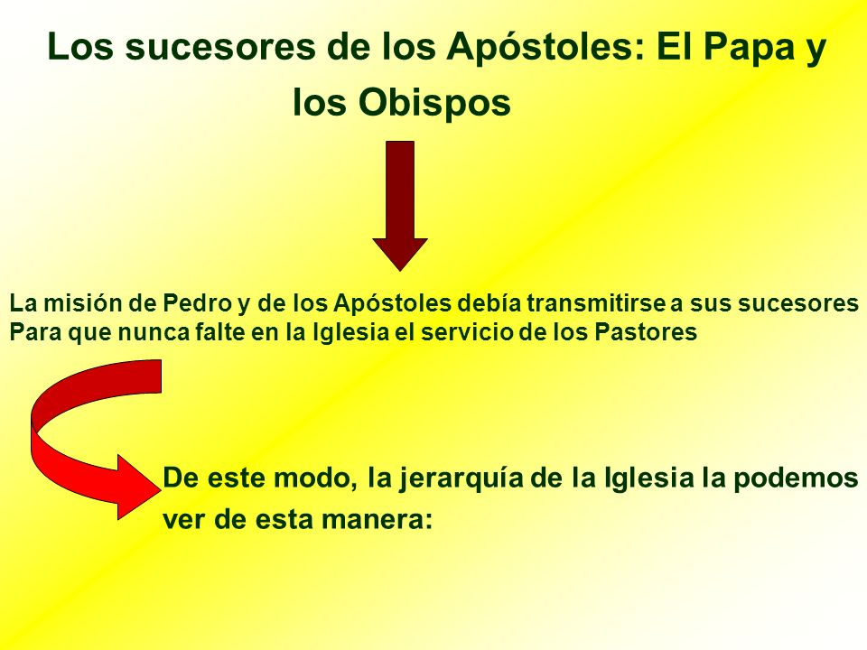 Los sucesores de los Apóstoles: El Papa y los Obispos La misión de Pedro y de los Apóstoles debía transmitirse a sus sucesores Para que nunca falte en